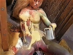 Hot PH Pet plays sensually with paint (90's)