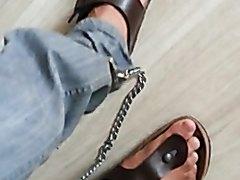 Feetcuffed birkenstock fuck