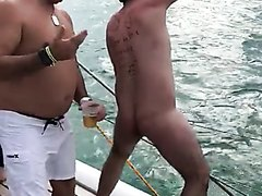 Naked man falling from boat