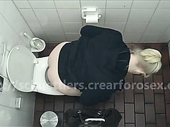 Blonde teen pooping