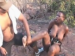 African busty hottie punished outdoors