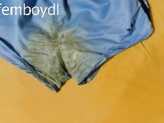 pee, poop and cum stained shiny adidas nylon shorts - listen to the sound