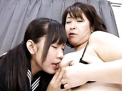 Young and mature tit sucking