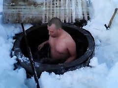 Men naked outdoor for a cold bath