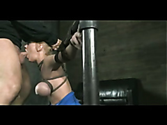 Tied up blonde gets drilled hard