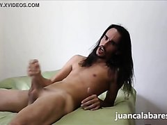 Long haired guy jerking off