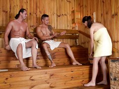 Lucie fucked in the sauna, threesome, full HD