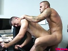 British muscled queers  fuck raw at office