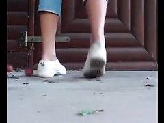 Cute teen poops outdoors