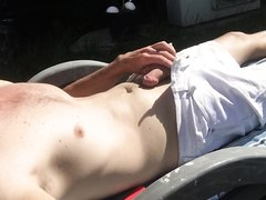 Pissing All Over Myself While Sunbaking Outside