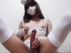 big cock Japanese trap cums a thick load with huge dildo