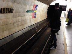 Drunk guy piss down the subway tunnel