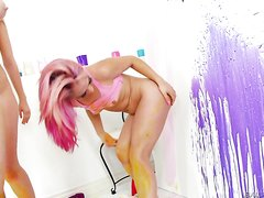 3 playful anal girls ass paint