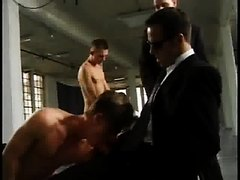 Slaves used by hot suited guys