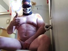 Sexy Naked Bear Farts on Toilet