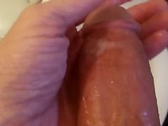 Smearing own cum on my cock
