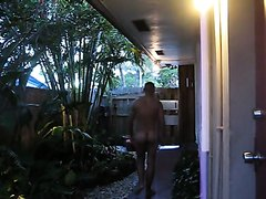 Man walking nude in the hotel