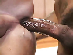 Horny guys taking turns on a tight ass