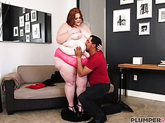 Ginger BBW gets well fucked