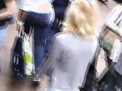 Busty girls wallking in streets