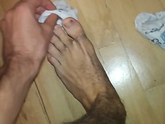 Top view white socks and sweay feet