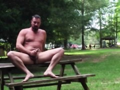 daddy jerks off naked in public
