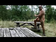 Hot daddy smoking cigar butt naked outside