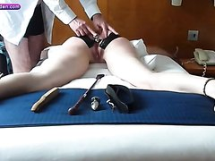 19 yr old slave26-Pegged and plugged