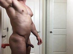 muscle stud fucks himself on dildo
