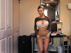 Girl with the perfect body dancing and teasing