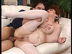 Busty redhead mature masturbates and gets fucked