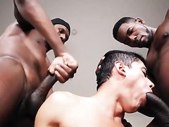 A lucky beautiful twinks acquires Two Large Dicked Hunky black men Who poke