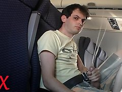 Shoots Big Cumshot on Plane
