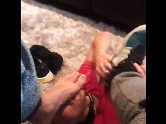Slave licking sweaty feet