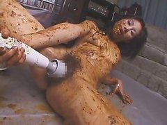Japanese Girl Smears Shit and Masturbates