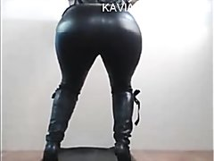 Spanish girl wearing leather pooping