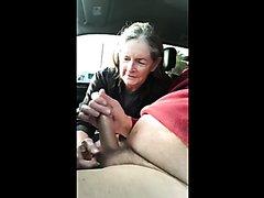 Granny sucks in a car