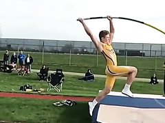 hot pole vaulter's cock knocks down the pole