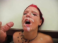 Beautiful redhead babe gets a bunch of facials