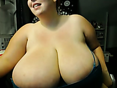 BBW with enormous tits teasing on webcam