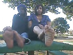 Ghetto black teens show off their stinky feet