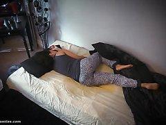 Cute ebony wets in bed