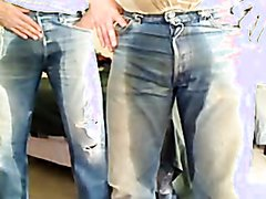 Pissing and Rubbing Jeans with a Bud