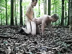 Young Master and Bound slave bareback in the woods 2