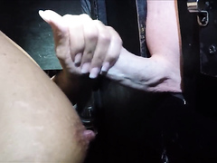Tits getting covered with fresh cum