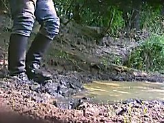 Leather boots in mud
