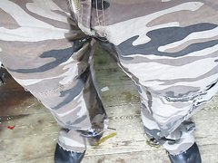 Morning piss in camo- pants