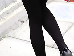 Girl pee dancing at parade