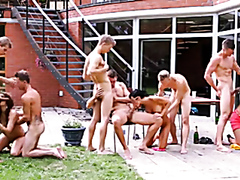 Amazing bisexual group action in the backyard