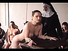 Nuns whipping bad girls as a punishment